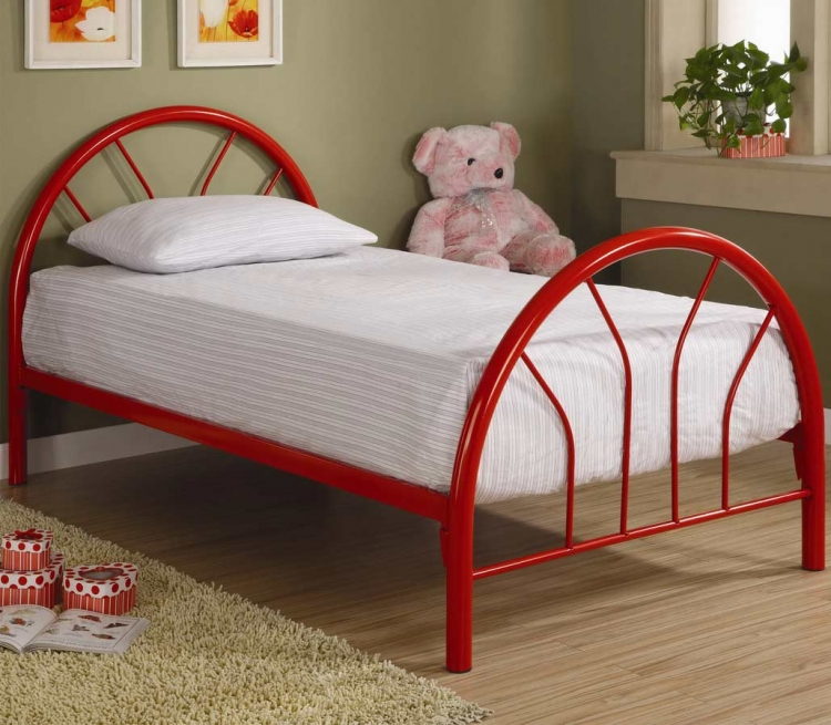 2389R Twin Metal Bed - Red - Coaster
