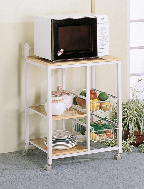 2506 Kitchen Cart - Natural Brown/White