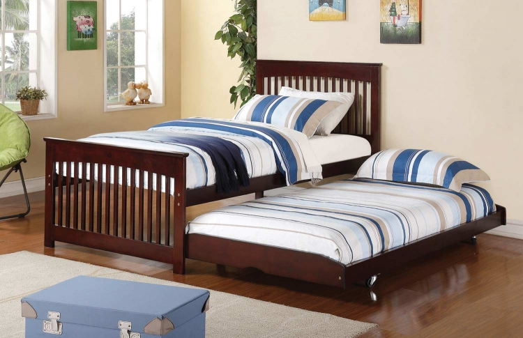 Salinas Twin Bed with Pop-Up Trundle - Cappuccino