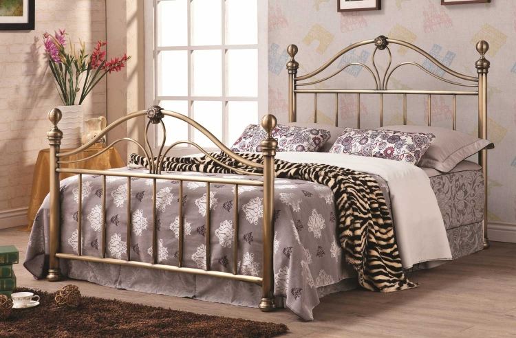 Iron Bed - Antique Gold/Burnished
