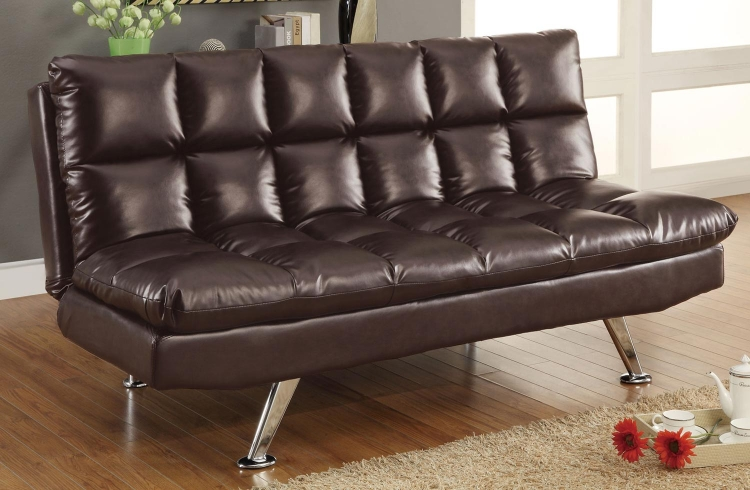 300122 Sofa Bed - Dark Brown - Chrome