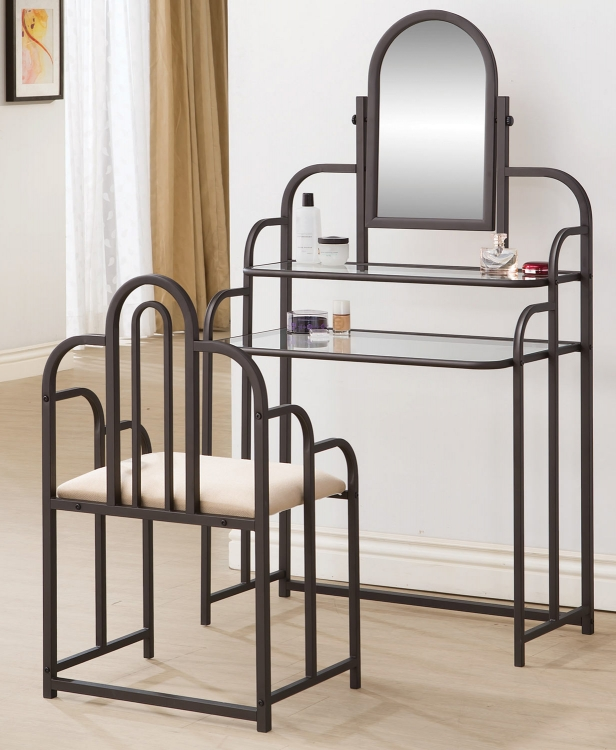 300180 2PC Set Vanity with Stool - Dark Iridescent Brown