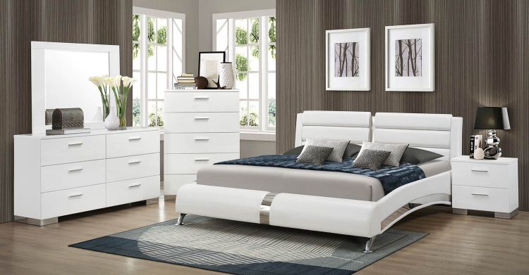 Felicity Platform Bedroom Set - White