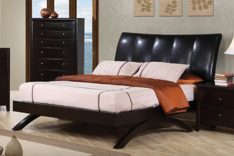 Phoenix Queen Upholstered Bed - Deep Cappuccino - Coaster