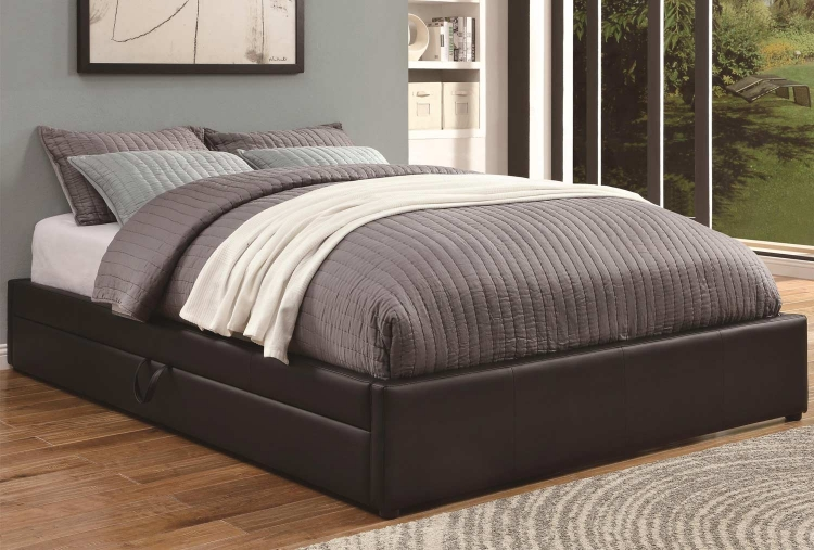 Upholstered Queen Bed with Storage - Black