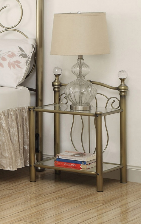 Lemoore Metal Nighstand - Brass