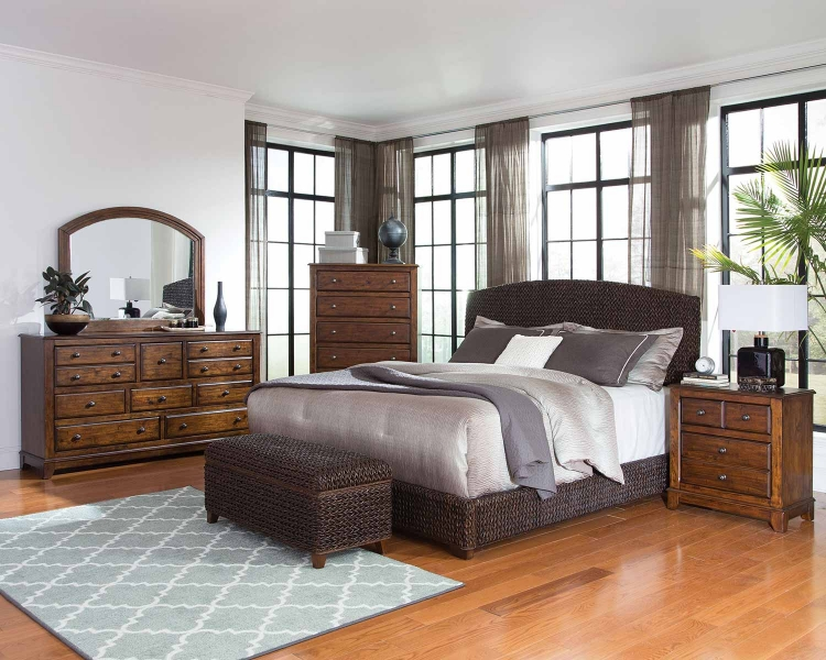 Laughton Abaca Panel Bedroom Set - Dark Brown Abaca/Cocoa Brown