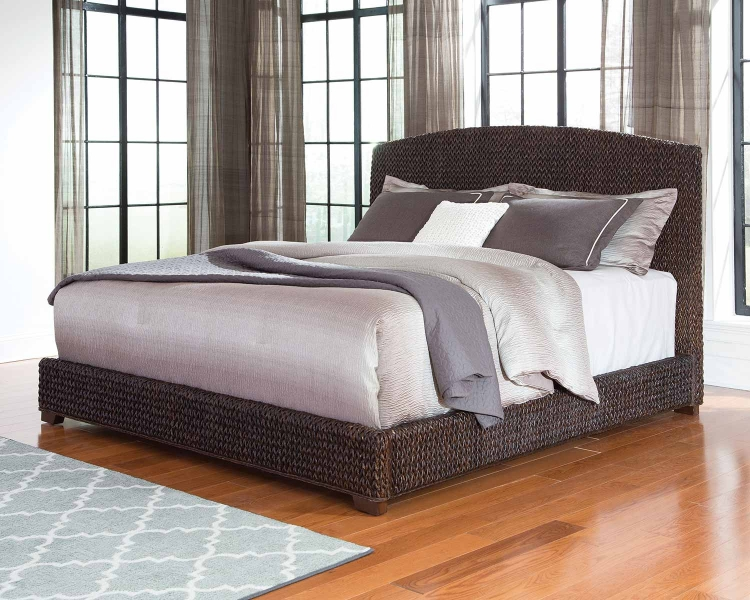 Laughton Abaca Panel Bed - Dark Brown Abaca/Cocoa Brown