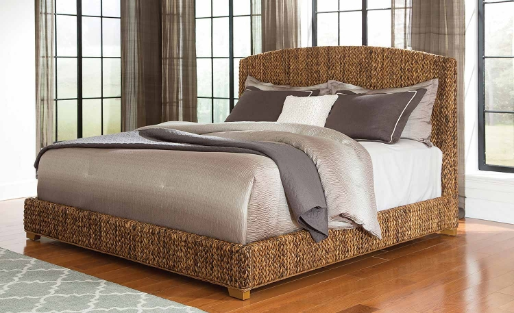 Laughton Abaca Panel Bed - Natural/Cocoa Brown