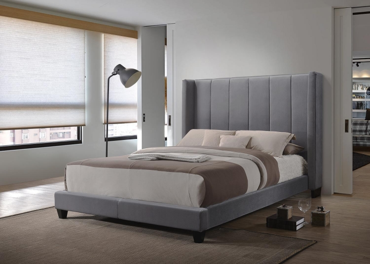 Hudson Low Profile Upholstered Bed - Gray Velvet