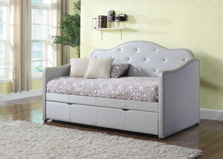 Dillane Button Tufted Upholstered Daybed with Trundle - Pearlescent Grey Leatherette