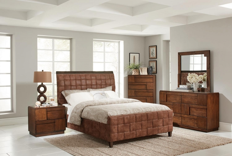 Gallagher Bedroom Collection - Golden Brown - Coated Brown Microfiber
