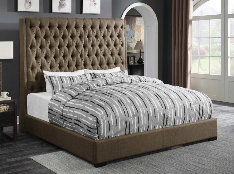 Camille Bed - Brown Fabric