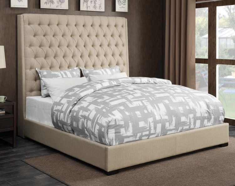 Camille Bed - Cream Fabric