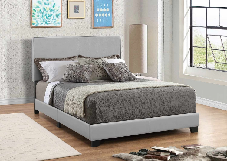 Dorian Low Profile Upholstered Bed - Gray Leatherette
