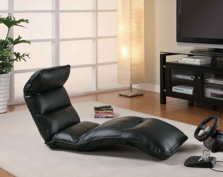 301001 Lounge Chair - Black Vinyl - Coaster