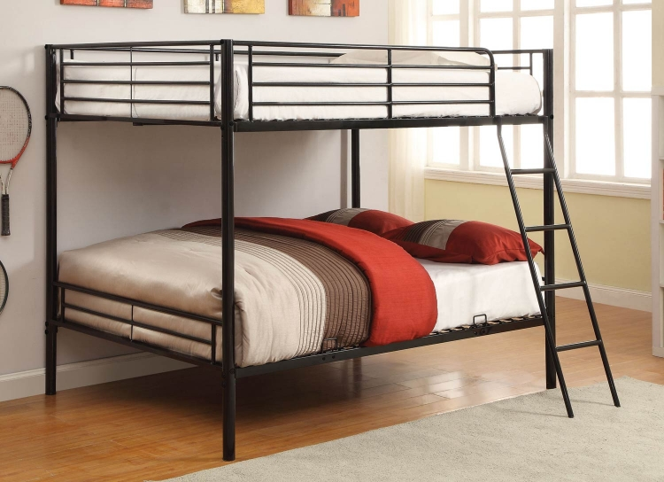 400033F Full/Full Bunk Bed - Black