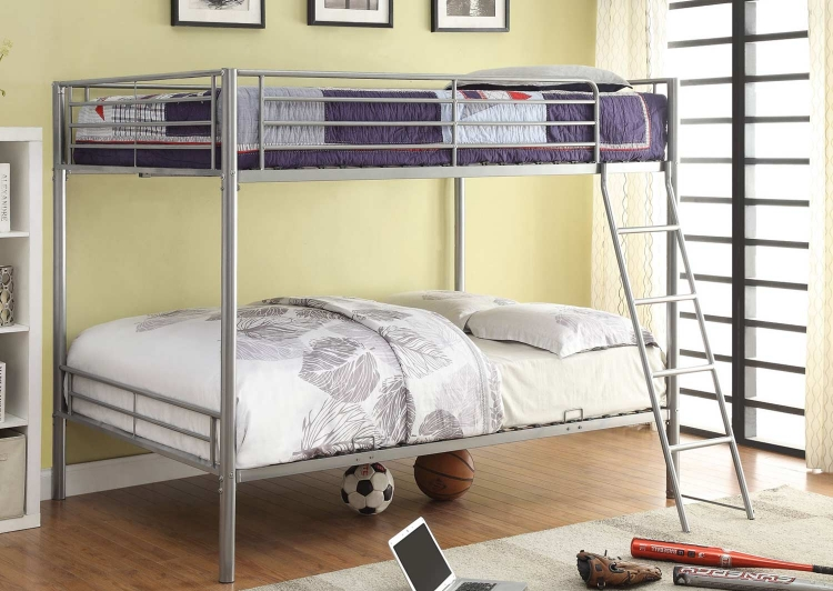400037F Full/Full Bunk Bed - Silver