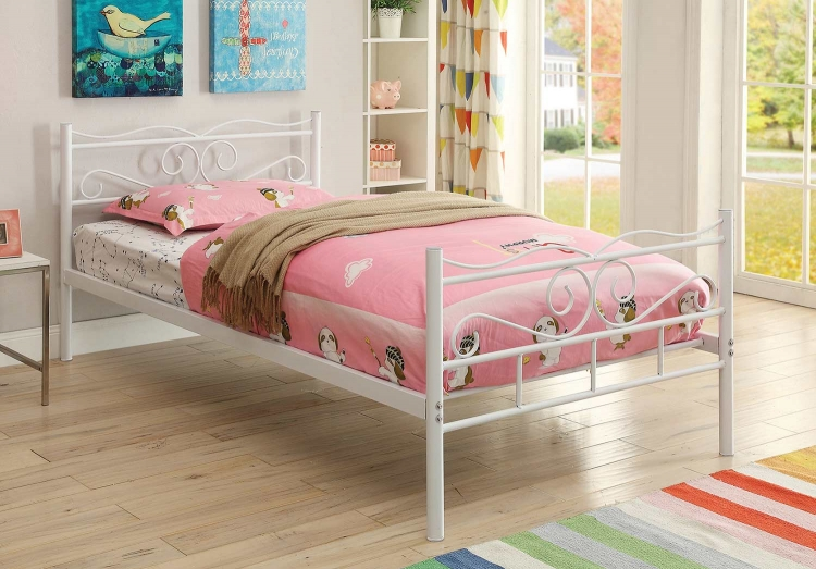 Bailey Twin Size Bed - White