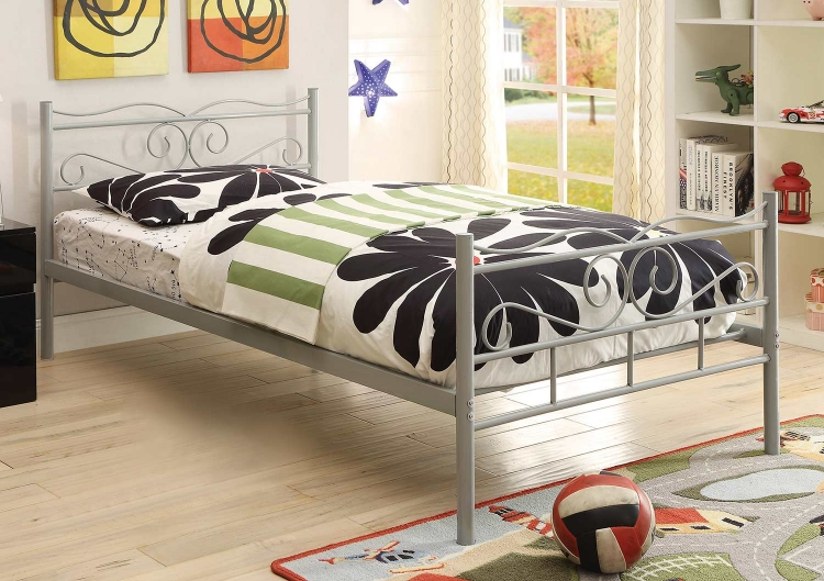Bailey Twin Size Bed - Cool Grey