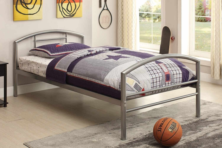 Baines Twin Size Bed - Silver