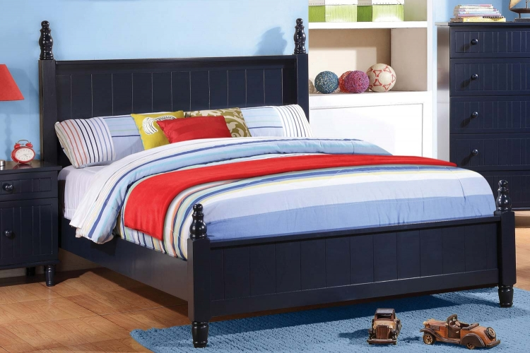 Zachary Bed - Navy Blue