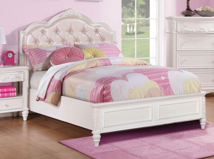 Caroline Upholstered Panel Bed - White