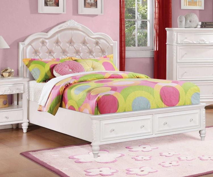 Caroline Upholstered Platform Storage Bed - White