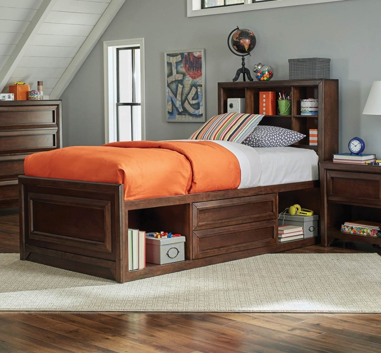 Greenough Twin Size Storage Bed - Maple Oak