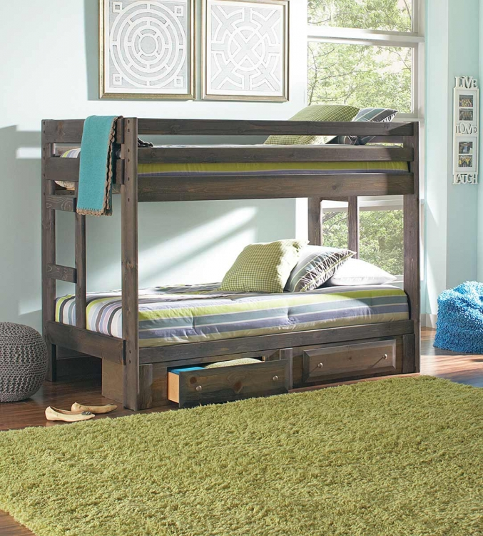 Wrangle Twin/Twin Size Storage Bunk Bed - Gunsmoke