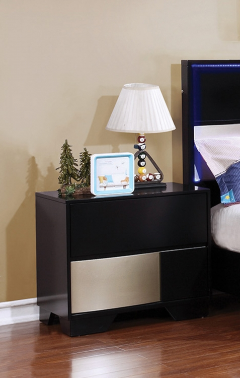 Havering Nightstand - Black/Sterling