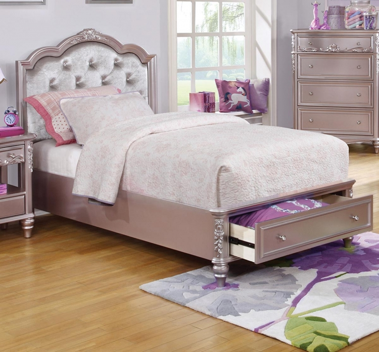 Caroline Storage Bed - Metallic Lilac