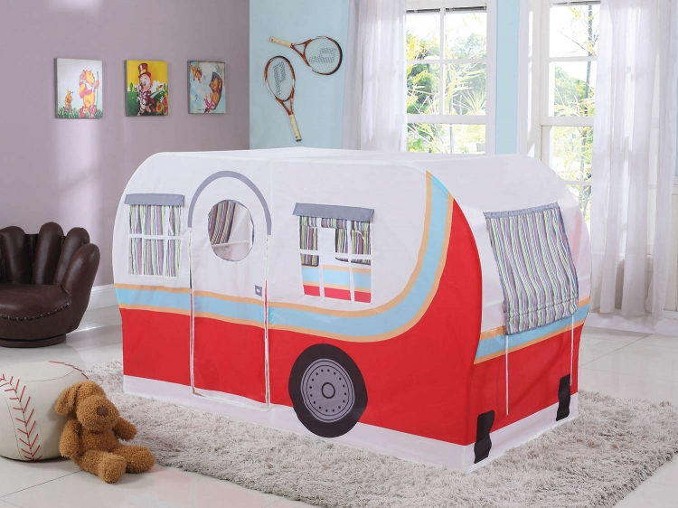 Mooney Camper Twin Camper Play Tent Bed - White/Multicolor