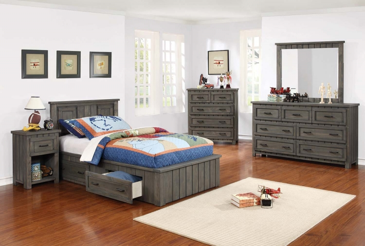 Napoleon Youth Captains Platform Storage Bedroom Collection - Gunsmoke -