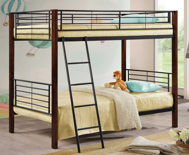 460027 Twin-Twin Bunk Bed - Cappuccino