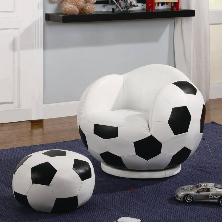 460178 Small Soccerball Chair and Ottoman Set