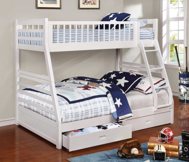 Ashton Twin/Full Size Bunk Bed - White