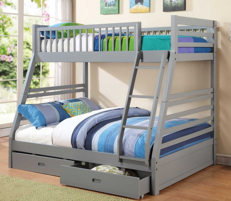 460182 Twin-Full Bunk Bed - Grey