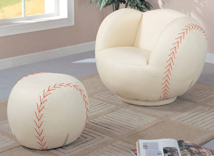 460187 Large Baseball Chair and Ottoman Set. - Coaster