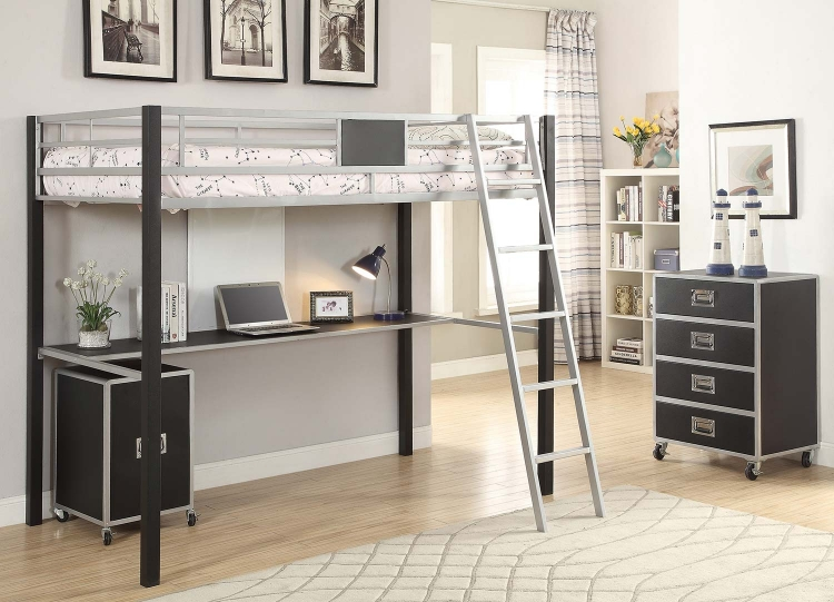 Leclair Twin Workstation Loft Bed Set - Silver/Black Leatherette