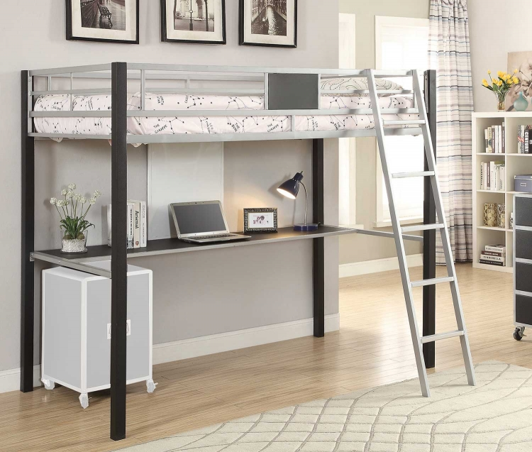 Leclair Twin Workstation Loft Bed - Silver/Black Leatherette