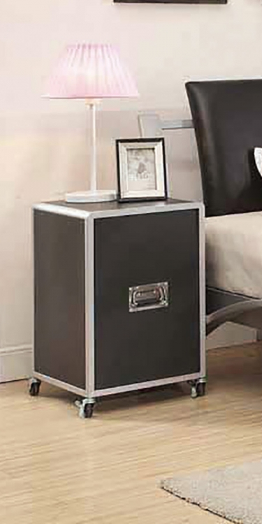 Leclair Cabinet - Silver/Black Leatherette