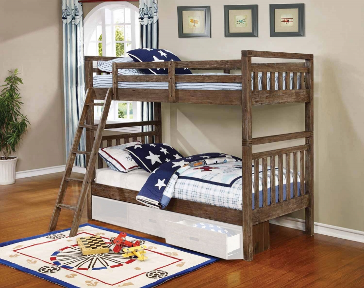 Malcolm Convertible Twin/Twin Bunk Bed - Wire Brushed Acacia
