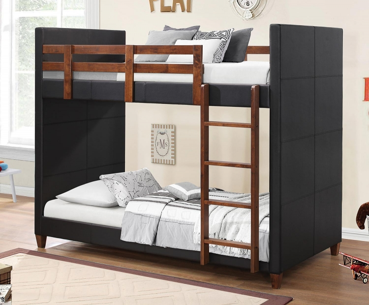 DIEGO Twin/Twin Size Bunk Bed - Black/Nutmeg