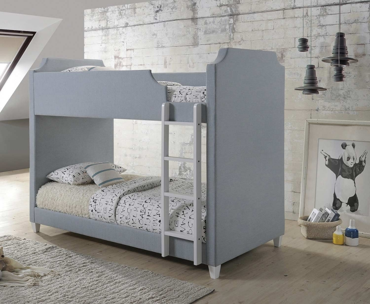 Gilroy Twin/Twin Size Bunk Bed - Grey Fabric