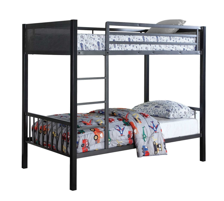 Meyers Twin/Twin Bunk Bed - Black/Gunmetal