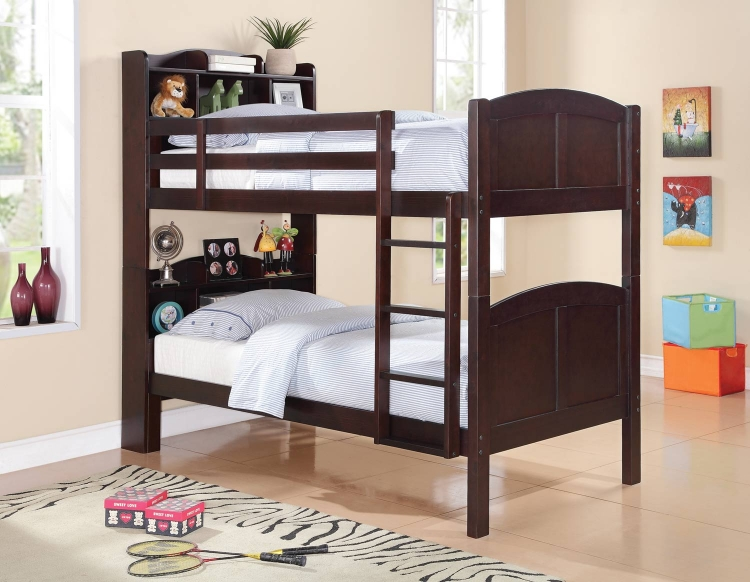 Parker Bookcase Bunk Bed - Cappuccino