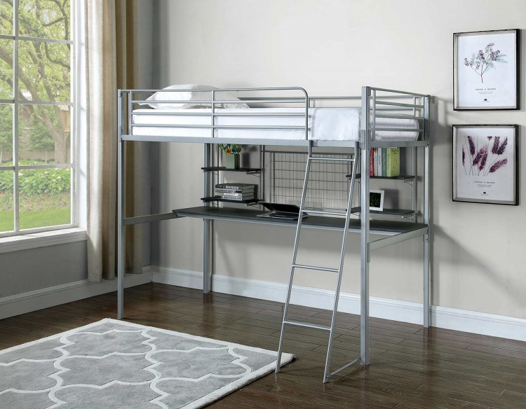 Boltzero Twin Workstation Loft Bed - Silver