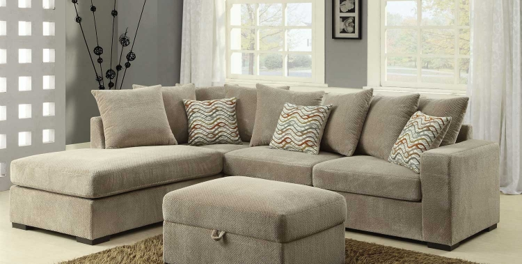 Olson Sectional Sofa - Taupe with Brown finish legs