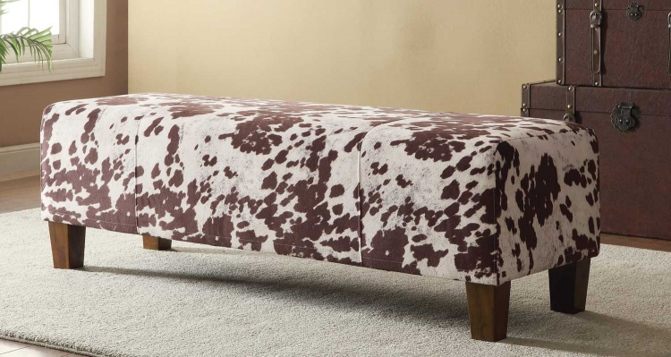 500116 Bench - White/Brown Cow Print